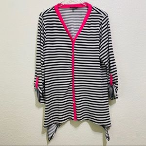 ☘️Notations striped button up cardigan size 1X